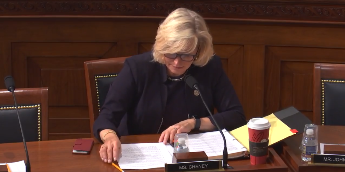 Screenshot of Congresswoman Liz Cheney speaking at the House Committee on Natural Resource 11/29/17 full committee mark-up live feed